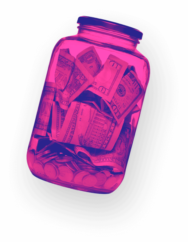 Large jar with cash money in it