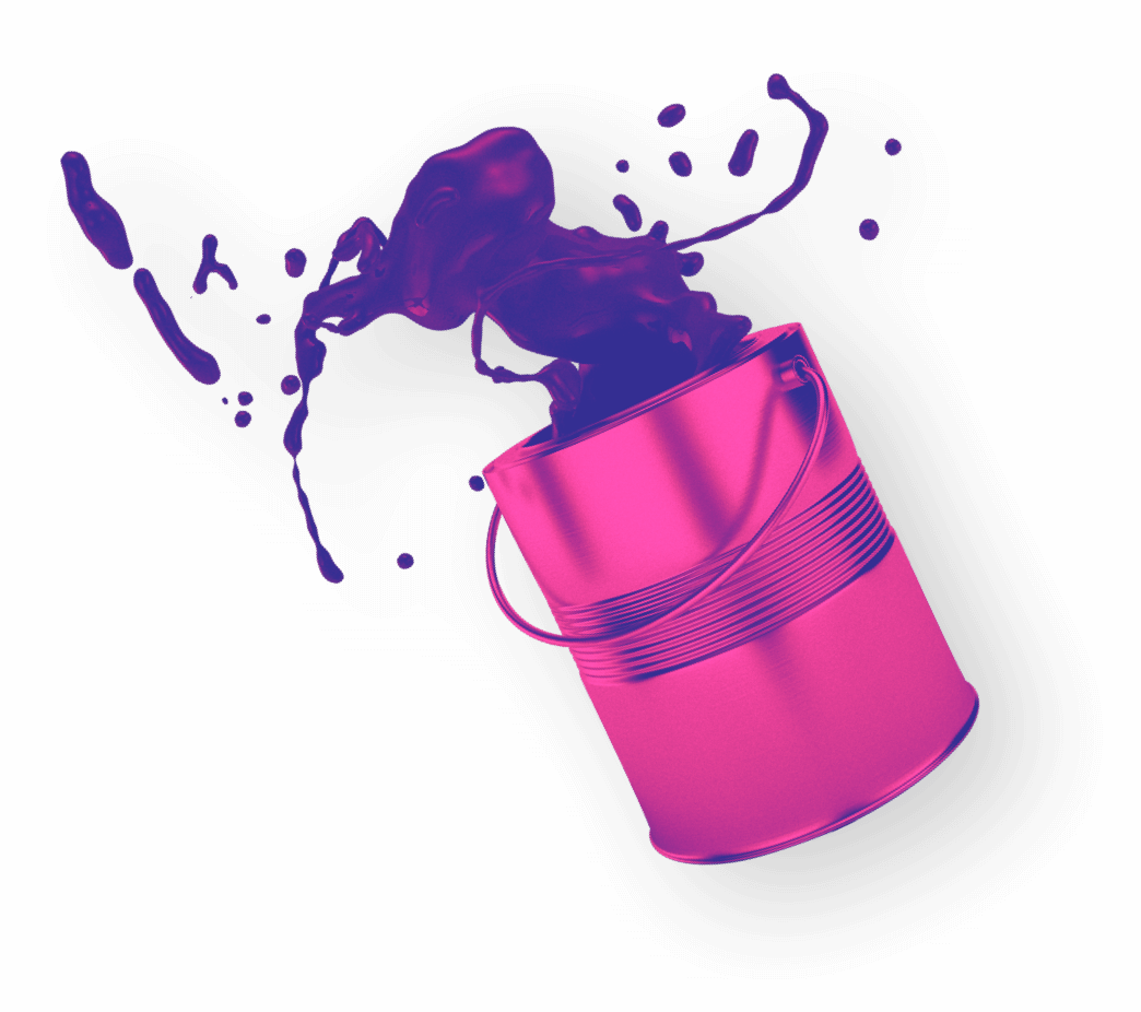 Paint can with paint splashing out of it